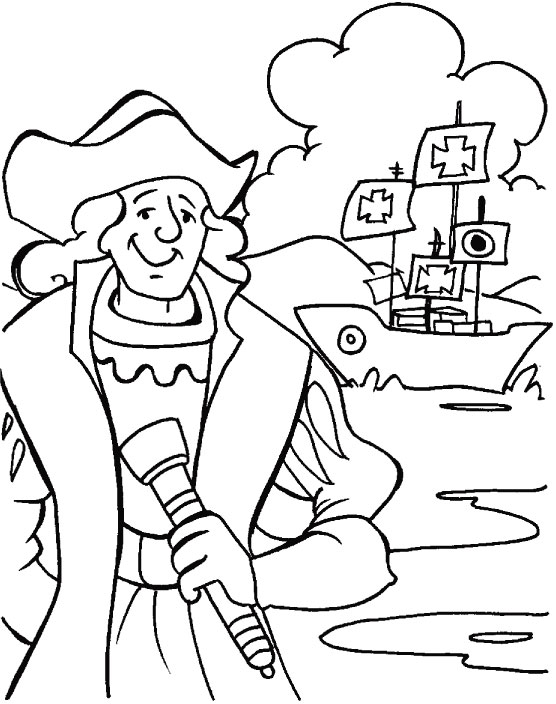 columbus in dilemma what to do coloring page download free rh bestcoloringpages com Columbus Day Printables Christopher Columbus Flag Color Sheet