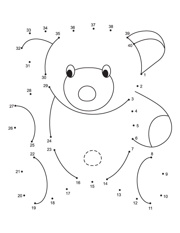 Connect the dots teddy bear from 1 to 40