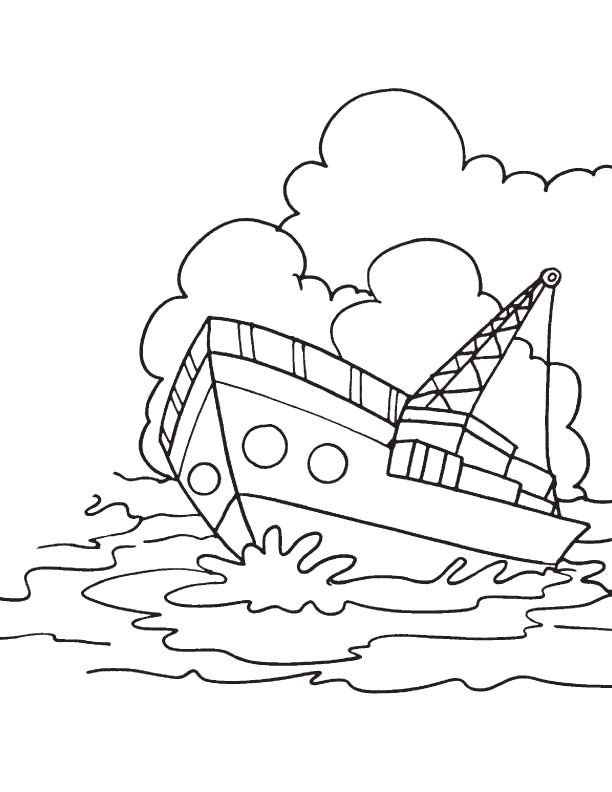 Container ship coloring page