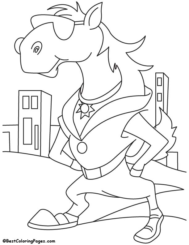 Cool horse coloring page