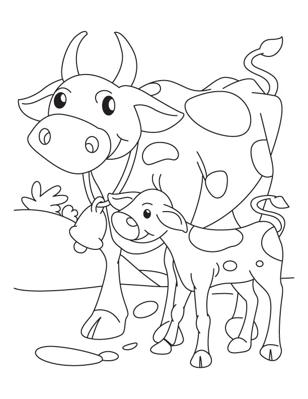 Cow Mother With Its Calf Coloring Pages