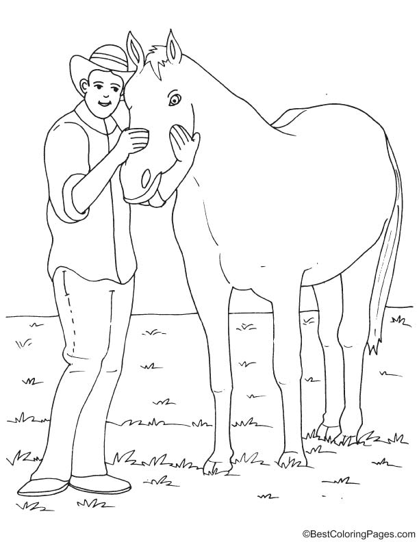 Cowboy and horse coloring page