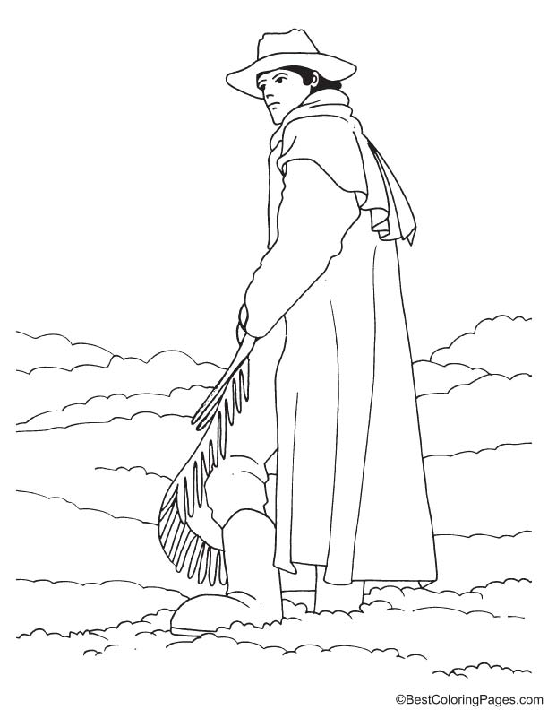 Cowboy in ice coloring page