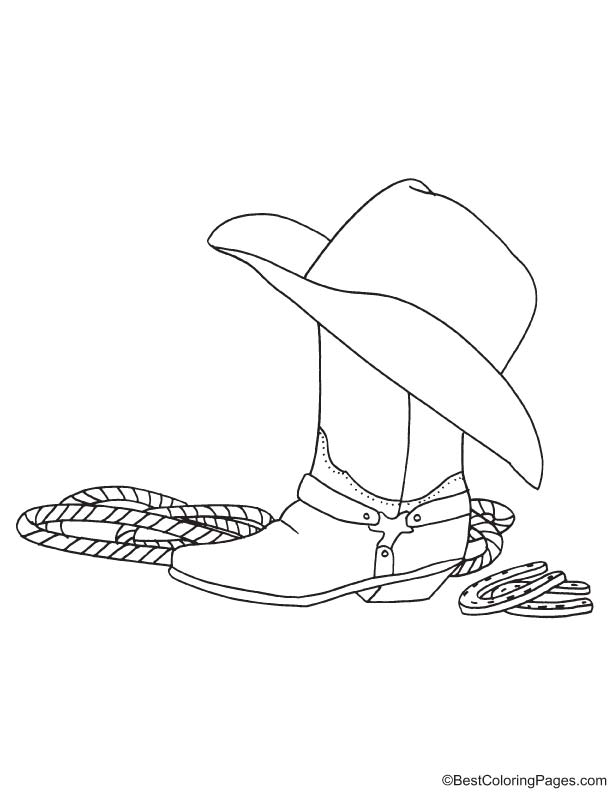 Cowboy objects coloring page