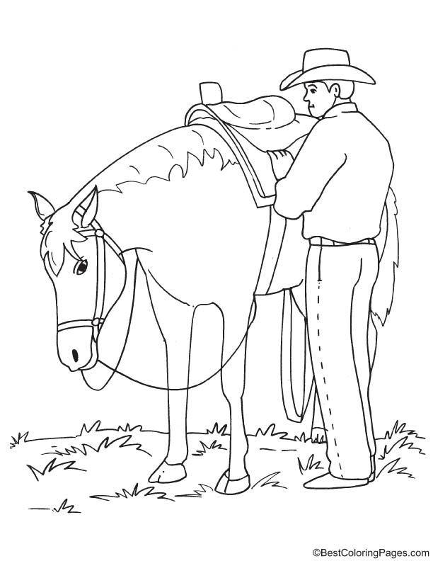 Cowboy with horse coloring page