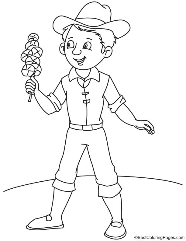 Cowboy with orchid coloring page | Download Free Cowboy with orchid ...