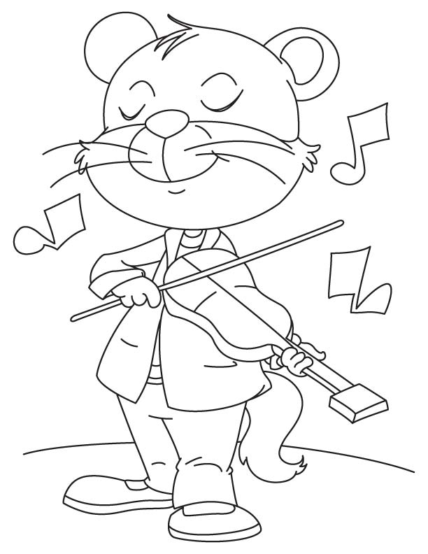 Crazy Cat Playing A Violin Coloring Page