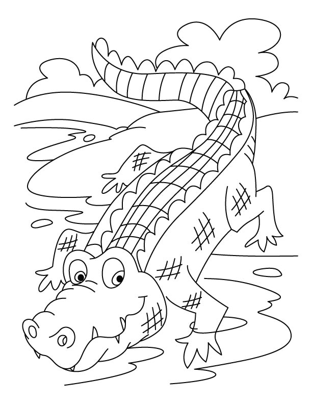 Crocodile on a run coloring pages