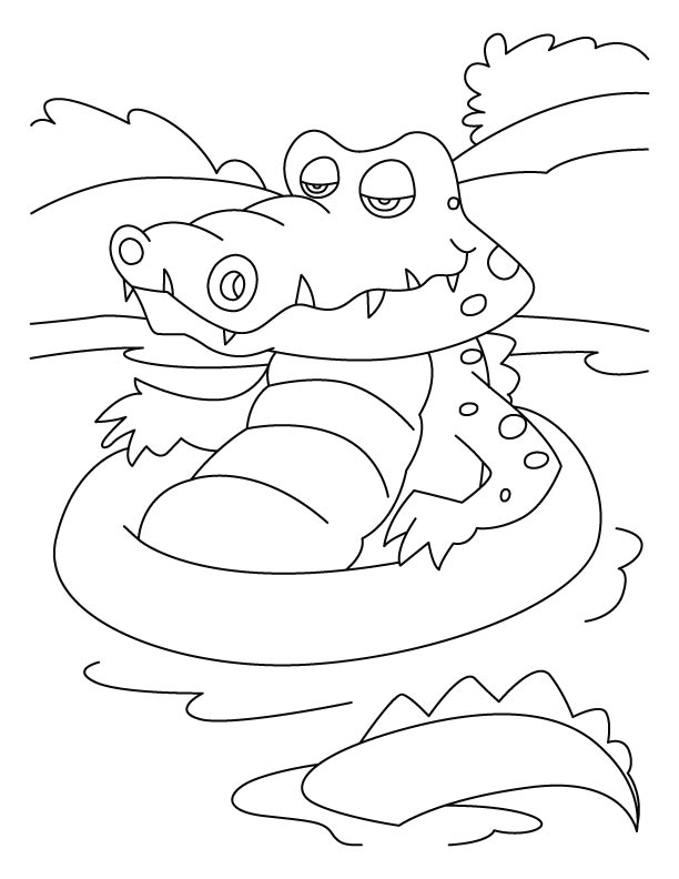 Crocodiles favorite bath-tub coloring pages
