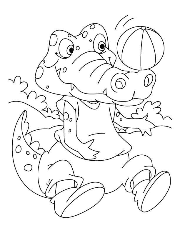 Football lover Crocodile coloring pages