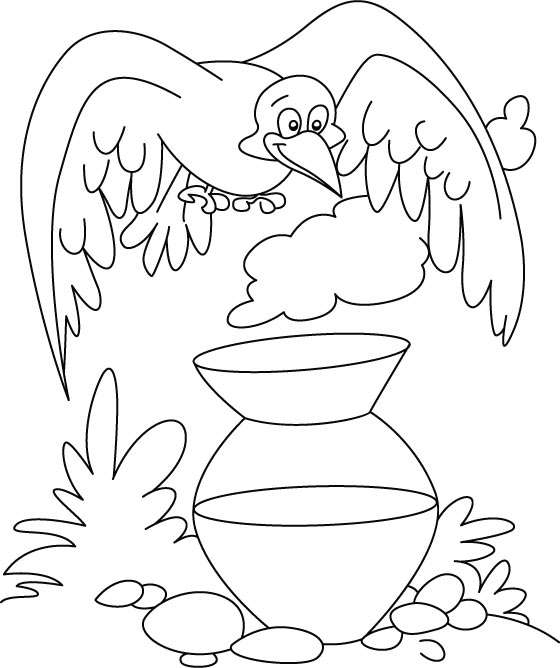 A thirsty crow coloring page Download Free A thirsty