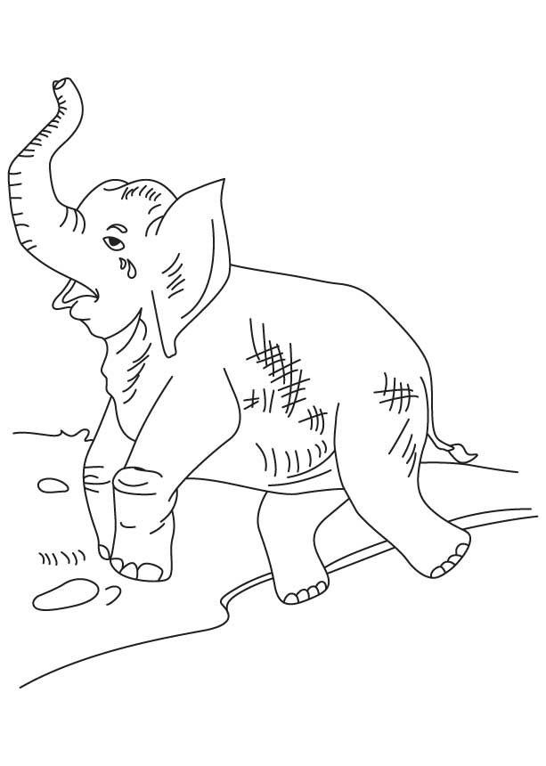 Crying elephant coloring page