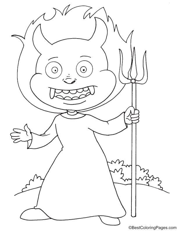 Cunning devil coloring page