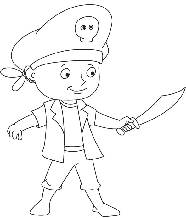 Cute pirate coloring page