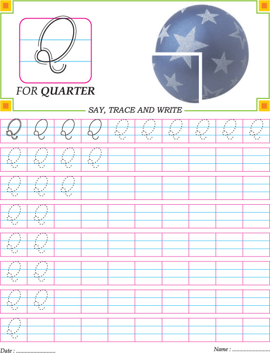 Cursive capital letter Q practice worksheet Download Free