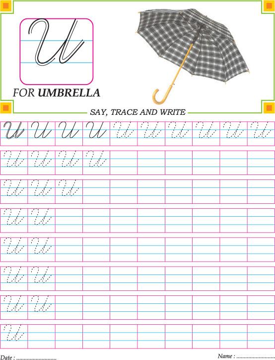 Cursive Capital Letter U Practice Worksheet