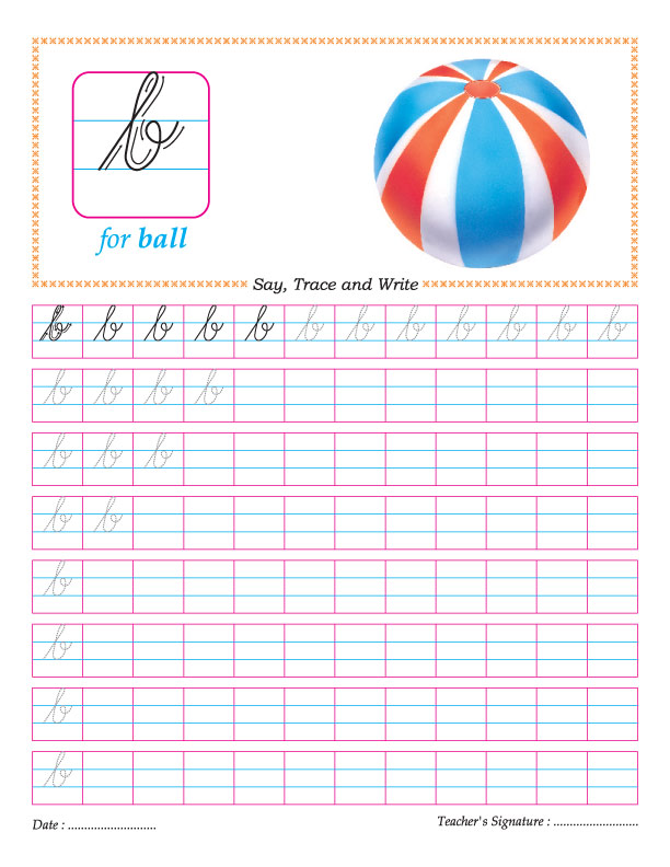 Cursive small letter b practice worksheet – Cursive Q Worksheet