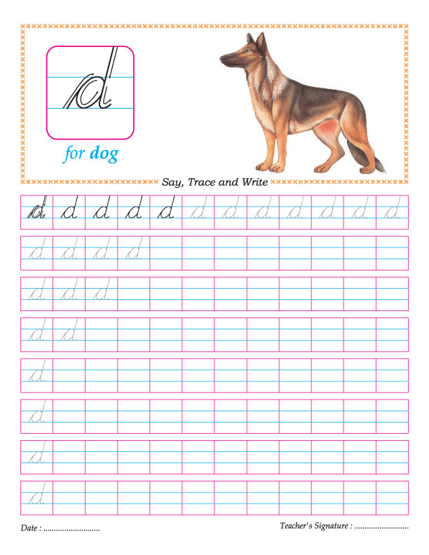 Cursive small letter d practice worksheet | Download Free Cursive ...