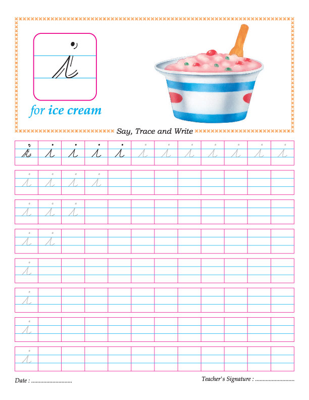 Cursive small letter i practice worksheet | Download Free Cursive ...