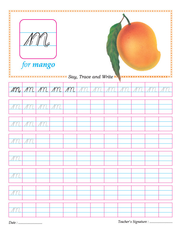 Cursive small letter m practice worksheet | Download Free Cursive ...