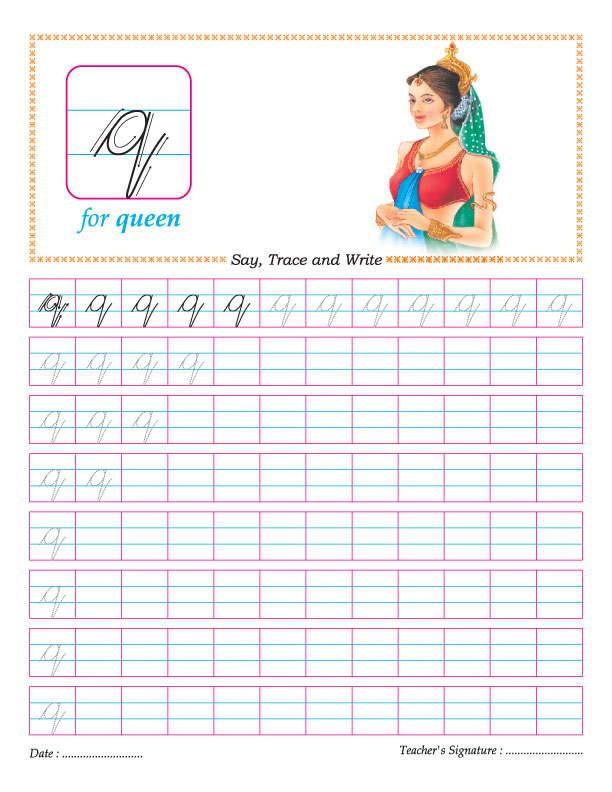 Cursive small letter q practice worksheet : Download Free ...