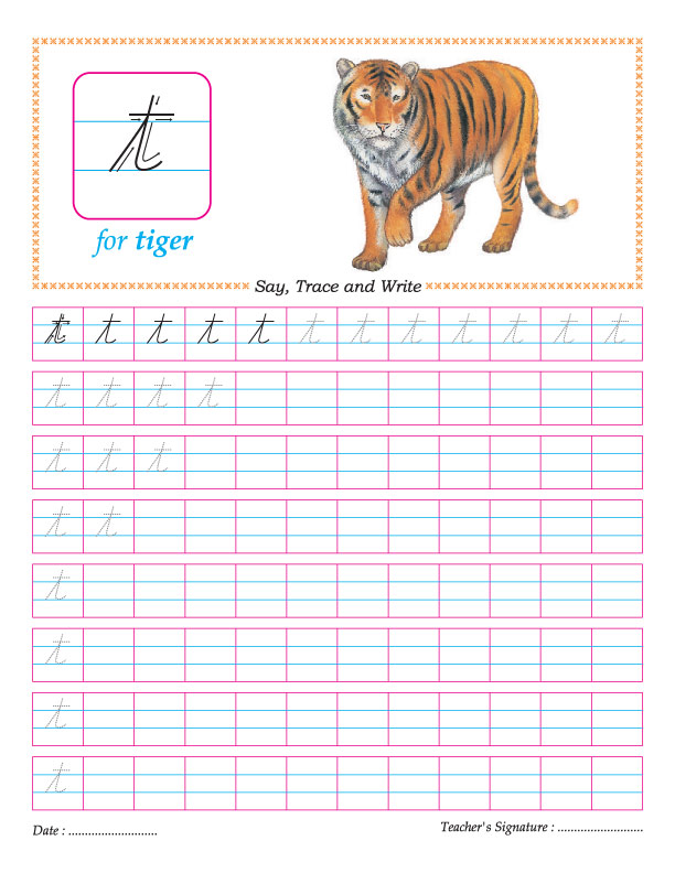 Cursive small letter t practice worksheet | Download Free Cursive ...