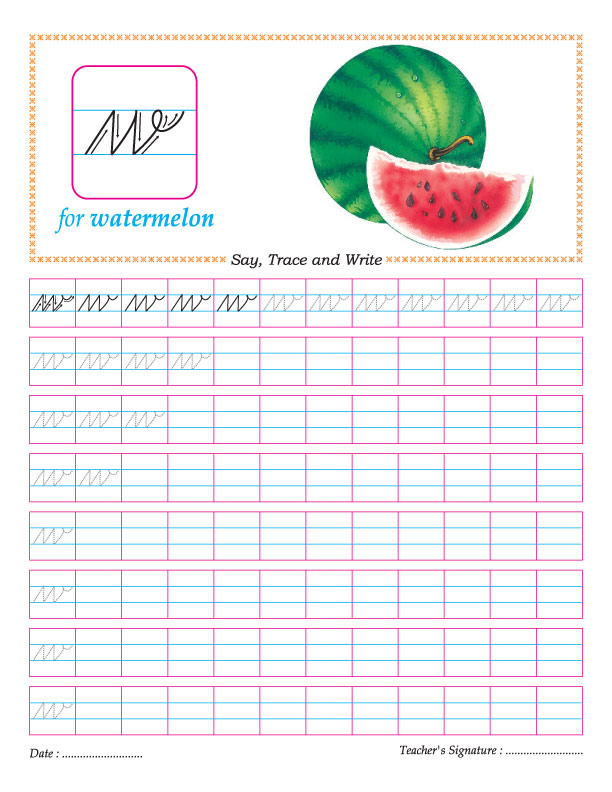 Cursive small letter w practice worksheet : Download Free ...