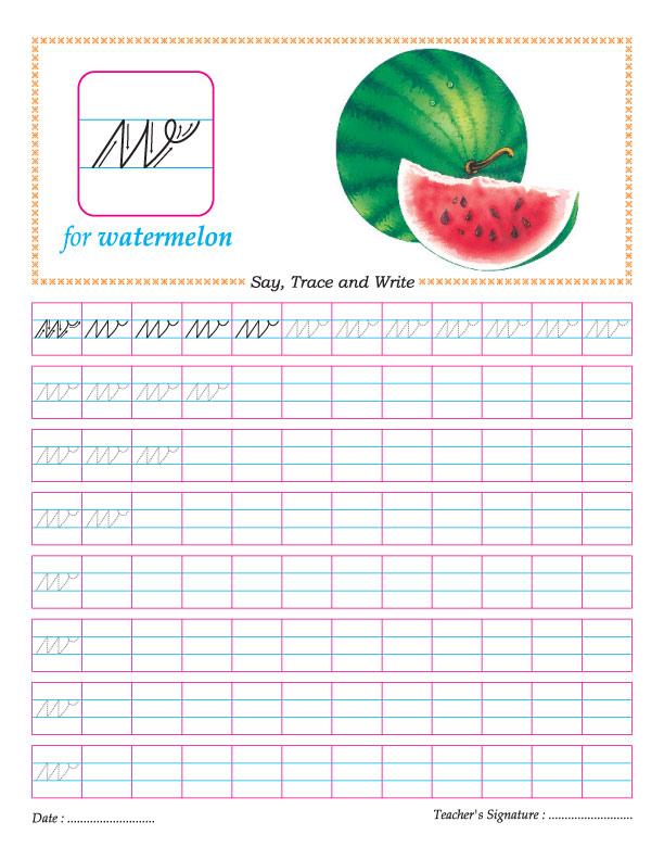 Cursive small letter w practice worksheet – W Worksheets for Kindergarten