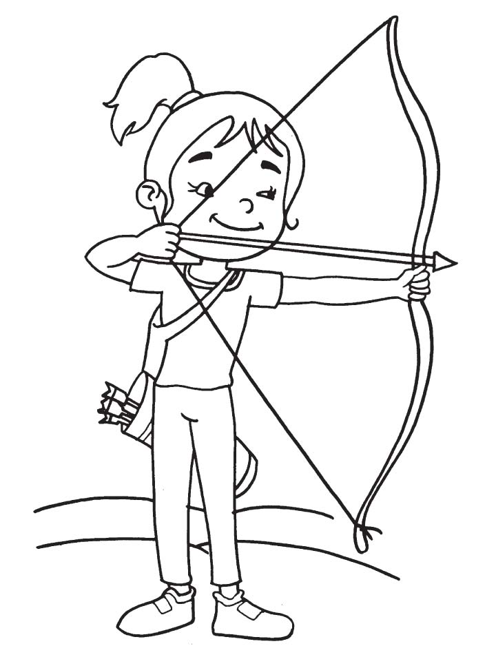 Cute girl archer coloring page