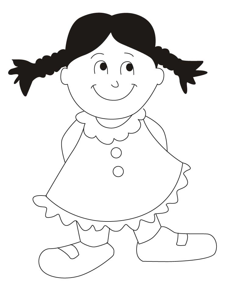 cute girl wearing frock coloring pages download free cute girl - Pages Download Free