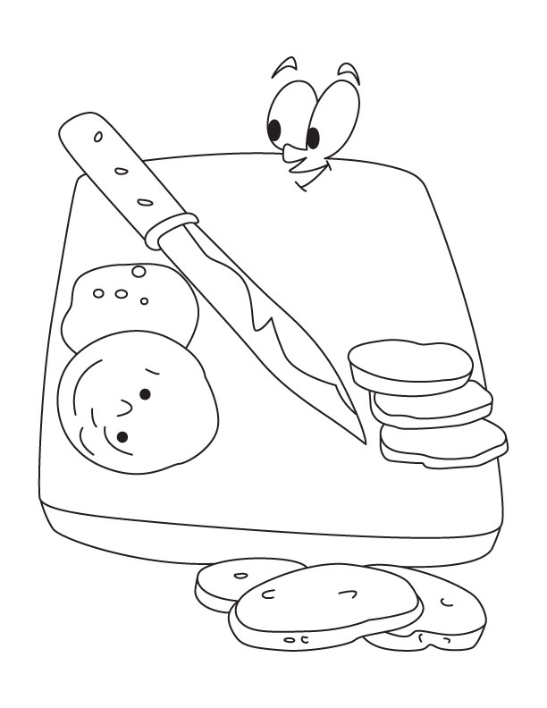 Cutting board and knife coloring page