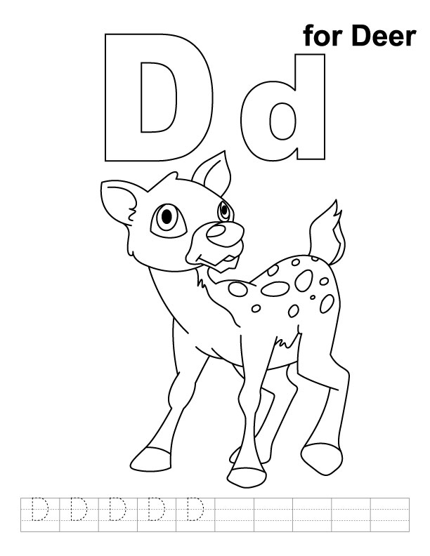 D for deer coloring page with handwriting practice
