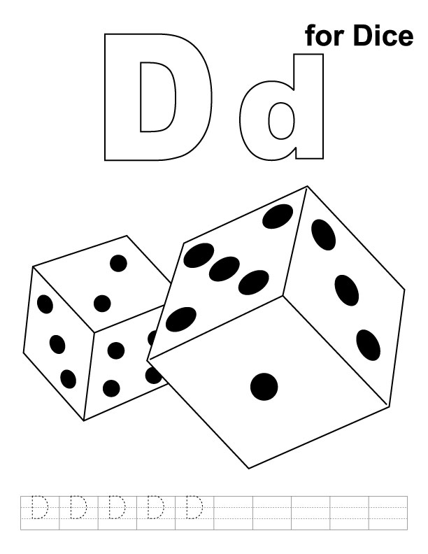 D for dice coloring page with handwriting practice