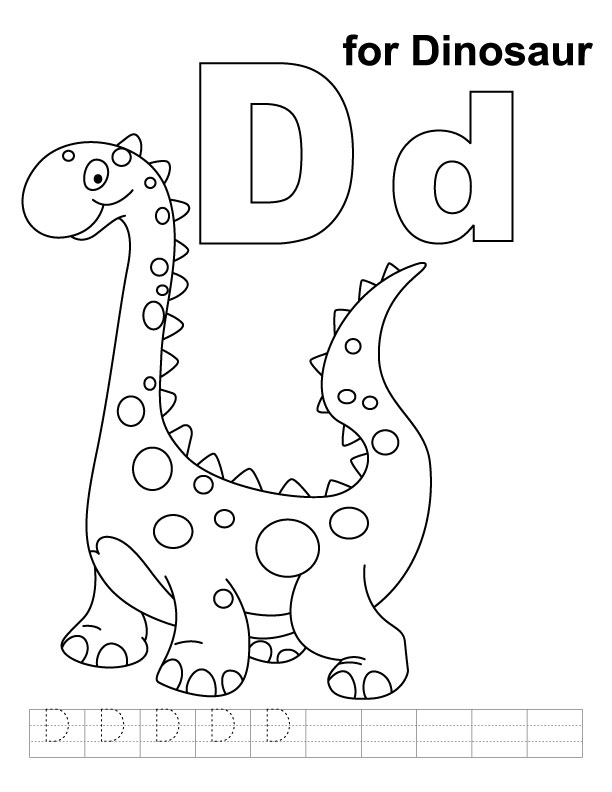 d is for dinosaur coloring pages - photo #3