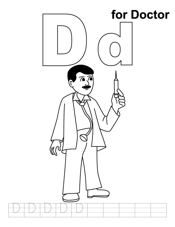 D for doctor coloring page with handwriting practice