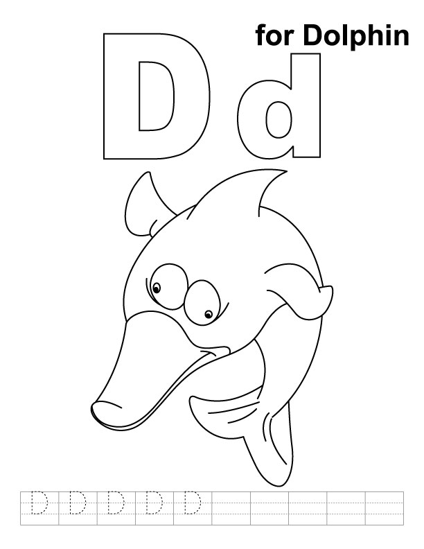 D for dolphin coloring page with handwriting practice