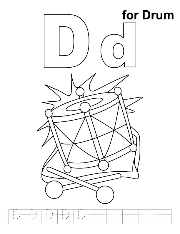 D for drum coloring page with handwriting practice for Drum coloring pages