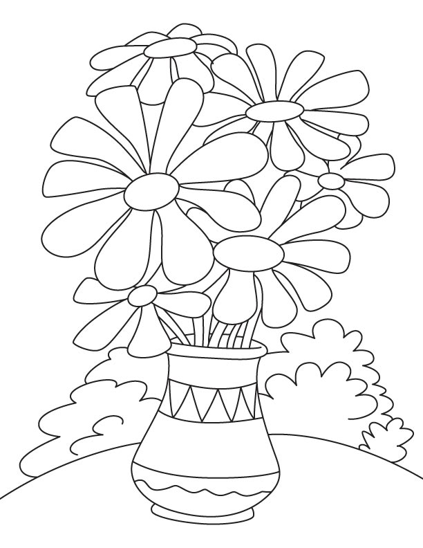 Daisy Flower Pot Coloring Page