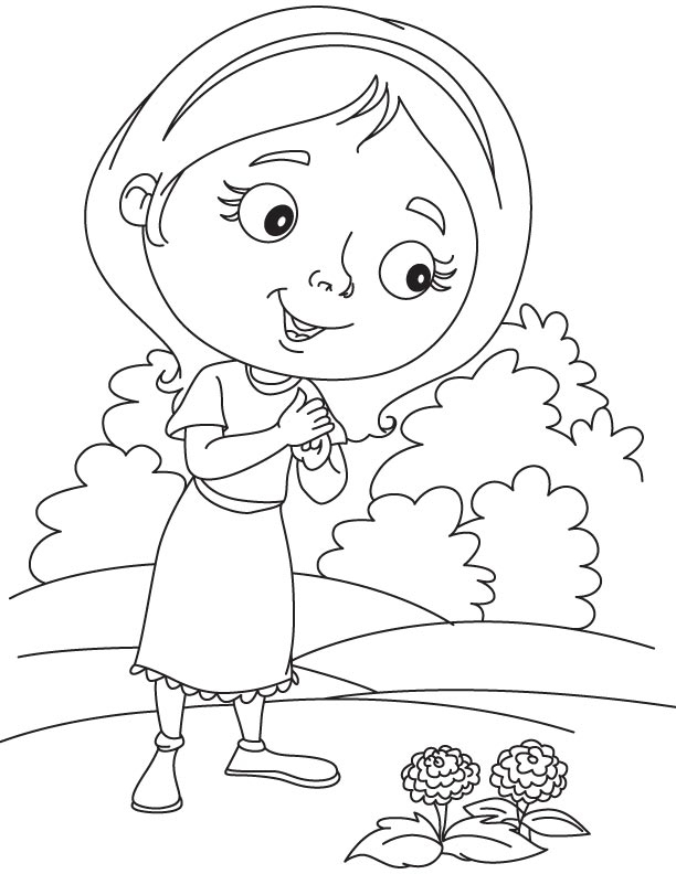 Daisy planting dahlia coloring page