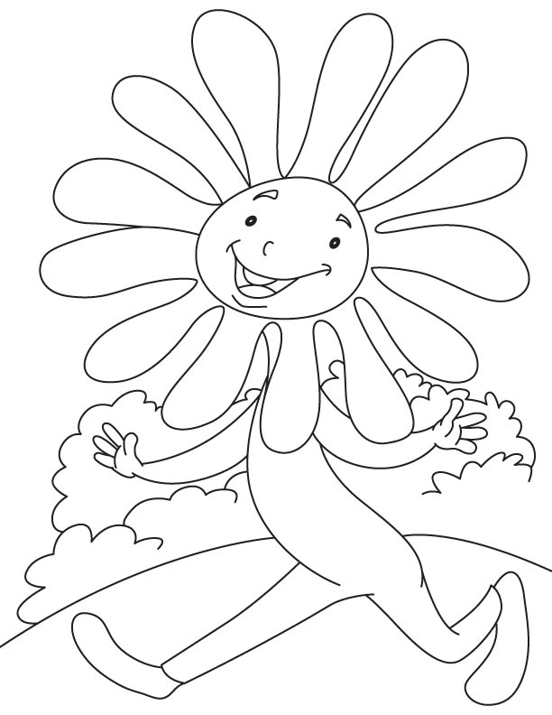 Daisy running daisy coloring page