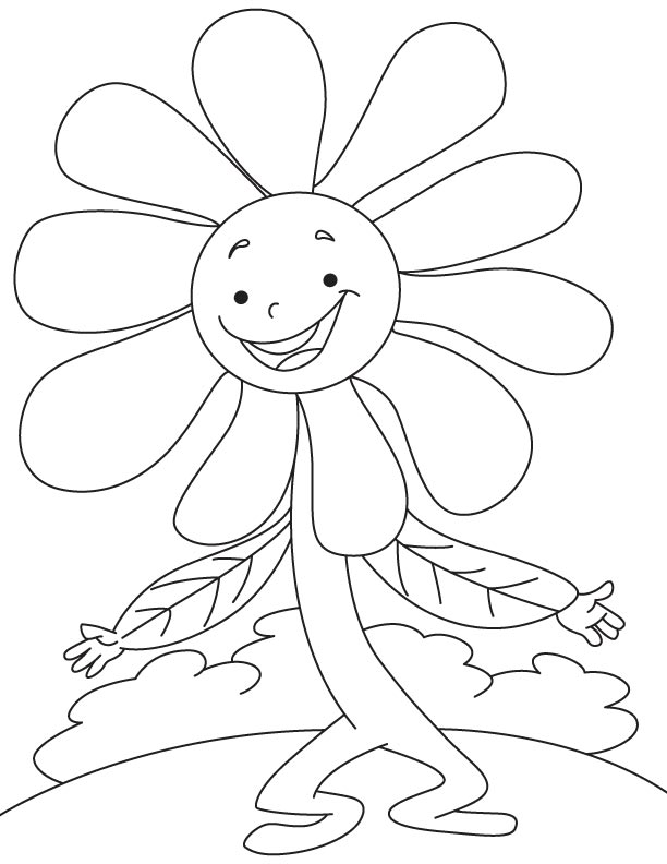 Dancing daisy coloring page