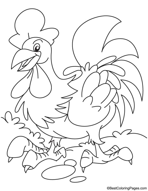 Dancing rooster coloring page