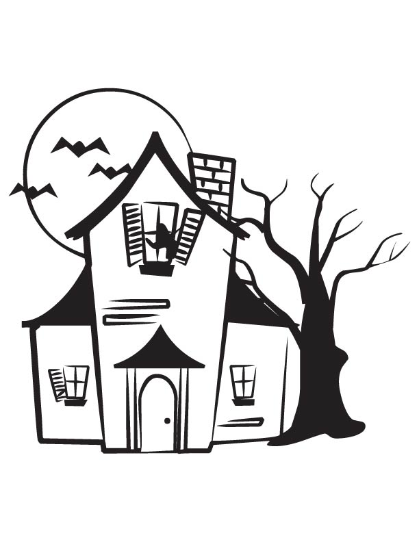 Dark lonely house coloring page