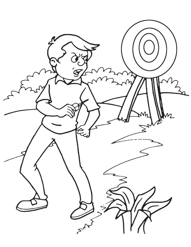 Dartboard a throwing sport coloring page