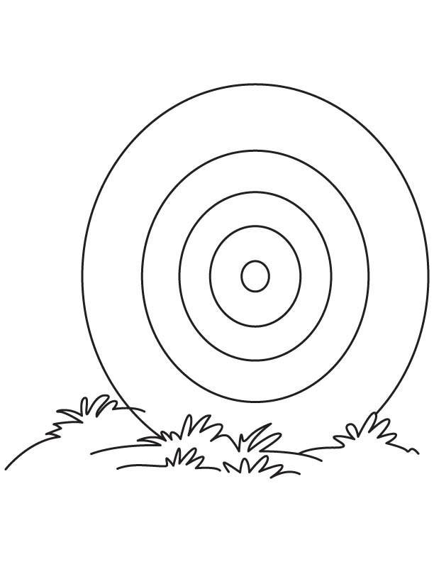 Dartboard On The Grass Coloring Page