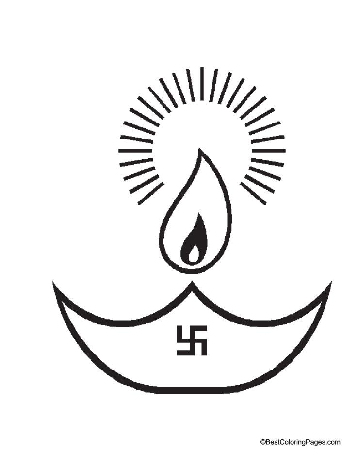 Deepawali deepak coloring page | Download Free Deepawali ...  Deepawali deepa...