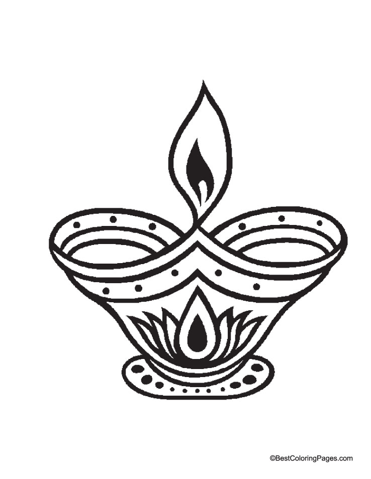 Diya picture coloring page Download