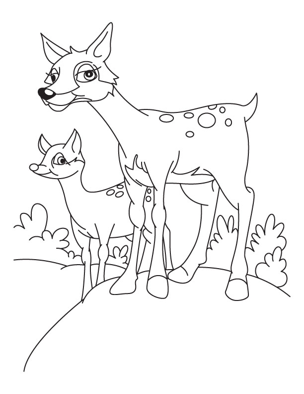 Deer And Fawn Coloring Page Download Free Deer And Fawn Coloring