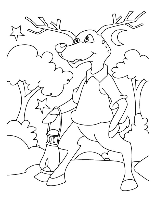 Deer in dark coloring pages