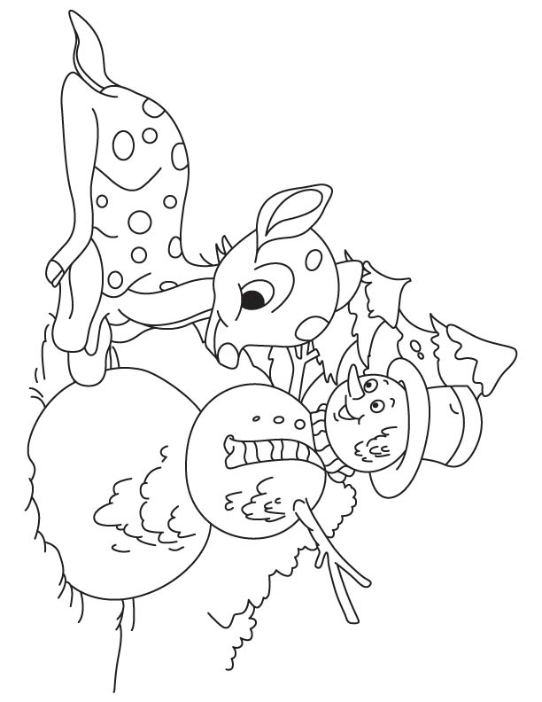 Deer fawn with snowman coloring page